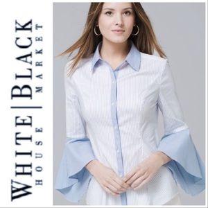 WHBM Blue Striped Button Down Bell Sleeve Shirt 12